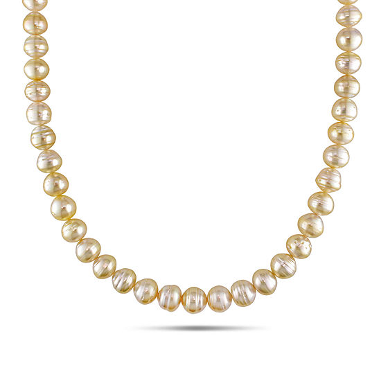 8-10mm Golden Genuine South Sea Pearl Necklace