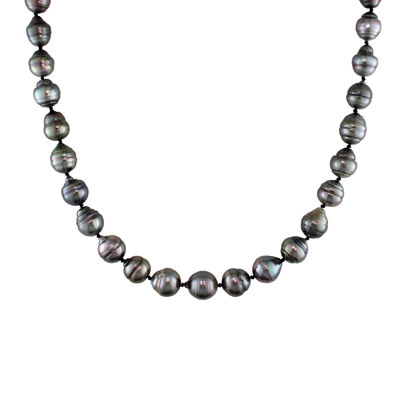 8-11mm Genuine Black Tahitian Pearl Necklace