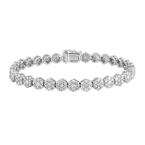 diamond blossom 5 CT. T.W. Diamond 14K White Gold Tennis Bracelet