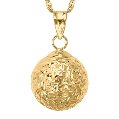 Infinite Gold™ 14K Yellow Gold Crystal-Cut Orb Pendant Necklace
