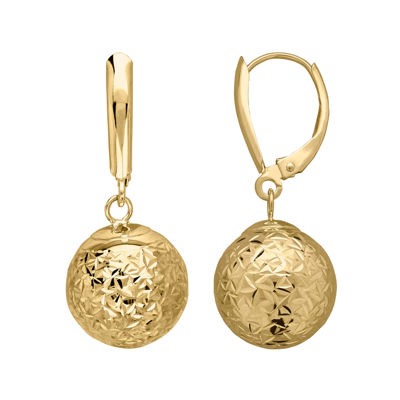 Infinite Gold™ 14K Yellow Gold Crystal Cut Drop Earrings