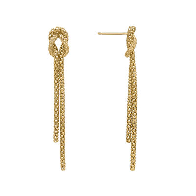 Infinite Gold™ 14K Yellow Gold Beaded Knot Double Strand Dangle Drop Earrings