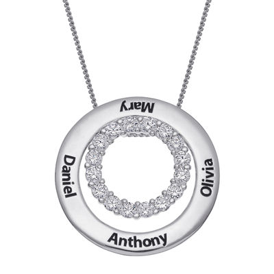 Personalized Sterling Silver Cubic Zirconia Two Nesting Disc Engraved Pendant Necklace