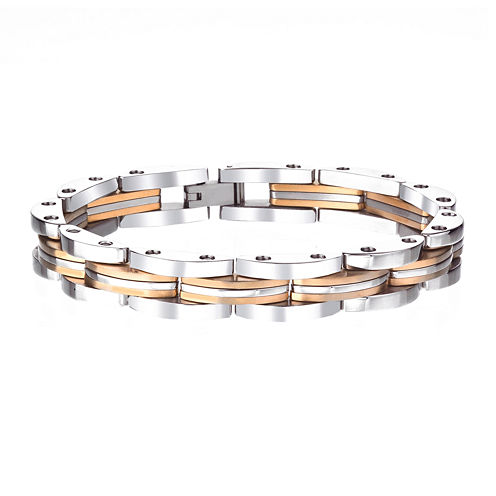 Mens Gold-Tone Stainless Steel Chain Bracelet
