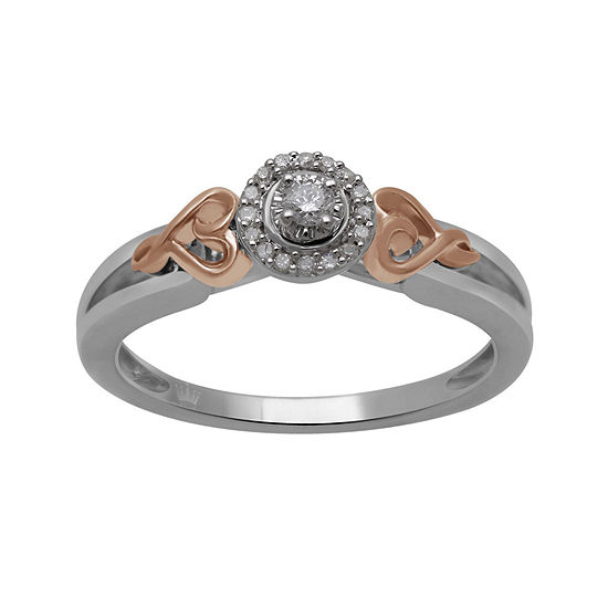 Hallmark Diamonds 1/10 CT. T.W. Genuine Diamond Sterling Silver with 14K Rose Gold over Silver Ring
