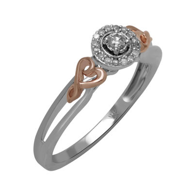 Hallmark Diamonds 1/10 CT. T.W. Diamond Sterling Silver with 14K Rose Gold over Silver Ring