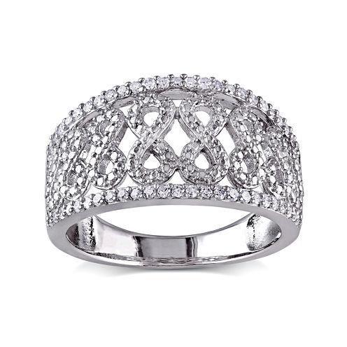 1/4 CT. T.W. Diamond Sterling Silver Infinity Symbol Ring