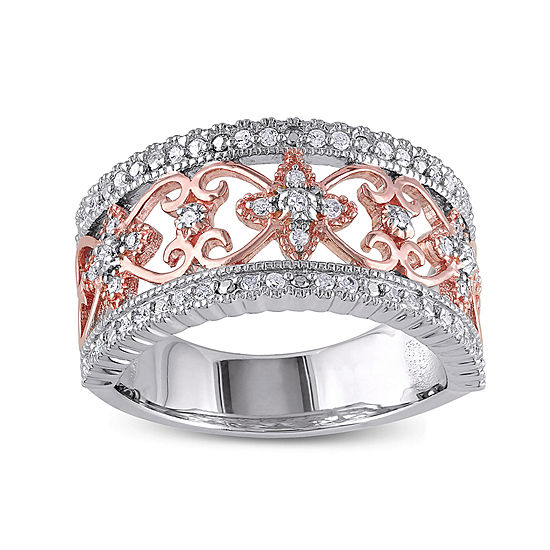 1/7 CT. T.W. Diamond Two-Tone Sterling Silver Ring