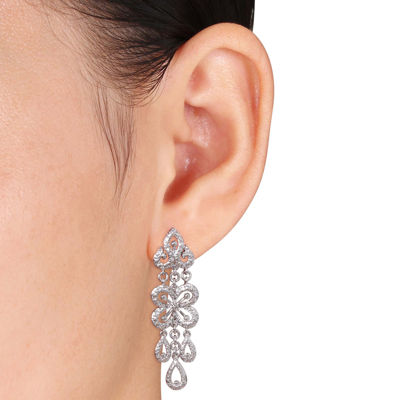 Diamond Accent Sterling Silver Drop Earrings