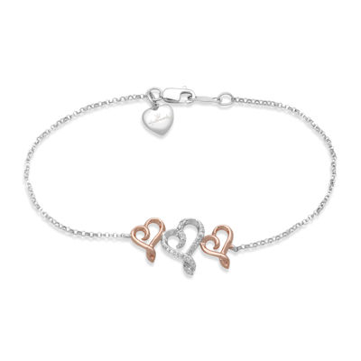Hallmark Diamonds 1/10 CT. T.W. Diamond Sterling Silver with 14K Rose Gold Bracelet