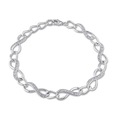 1/4 CT. T.W. Diamond Sterling Silver Infinity Tennis Bracelet
