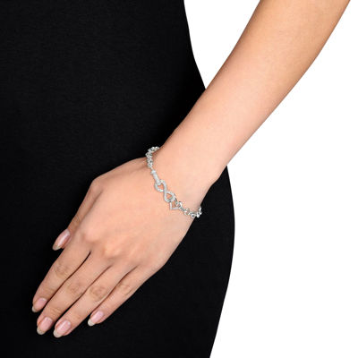 1/10 Ct. T.W. Diamond Sterling Silver Heart & Infinity Bracelet