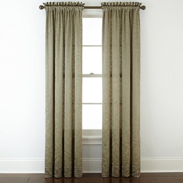 Royal Velvet® Hilton Embroidery Rod-Pocket Curtain Panel - JCPenney