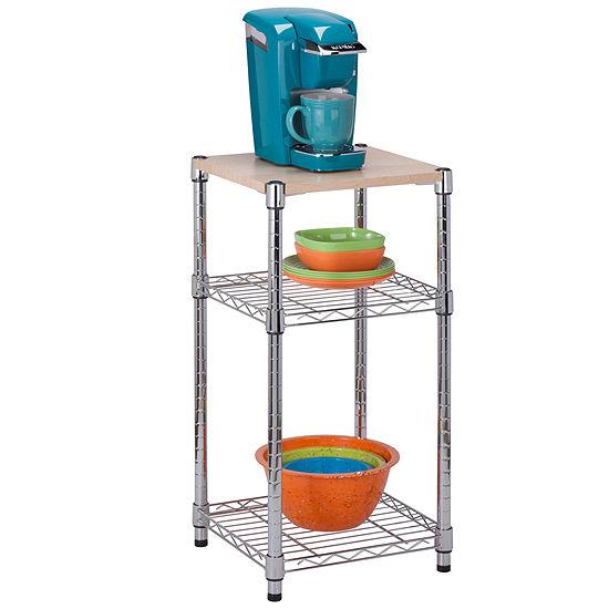 Honey-Can-Do® 3-Tier Chrome & Wood Shelf