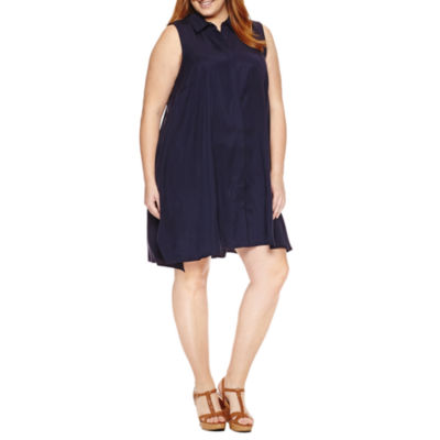 Sharagano Sleeveless Button Front Shirt Dress - Plus