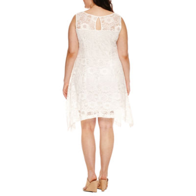 Robbie Bee Sleeveless Lace Trapeze Dress-Plus