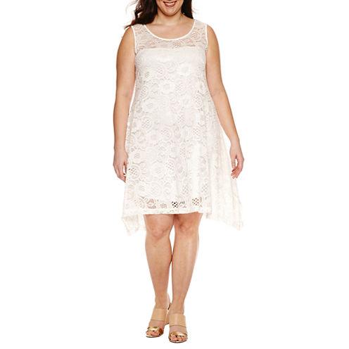 Robbie Bee Sleeveless Lace Trapeze Dress-Plus