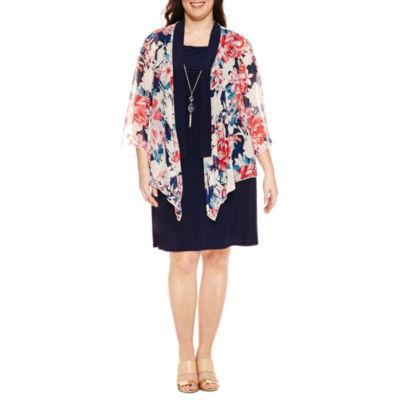 Tiana B 3/4 Sleeve Jacket Dress with Necklace-Plus