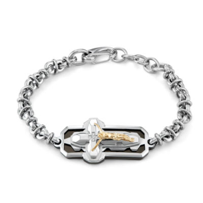 Mens 9 Inch Diamond Accent White Diamond Stainless Steel Chain Bracelet