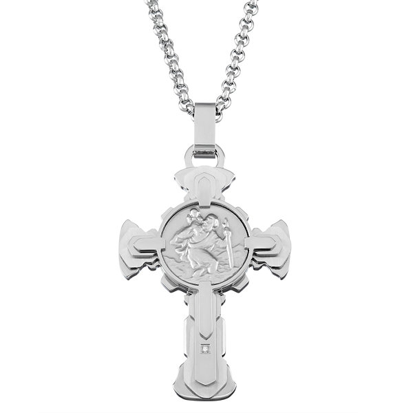 Mens Diamond Accent White Diamond Stainless Steel Pendant Necklace