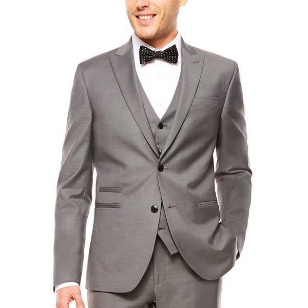 J.Ferrar Stretch Gray Sharkskin Suit Jacket