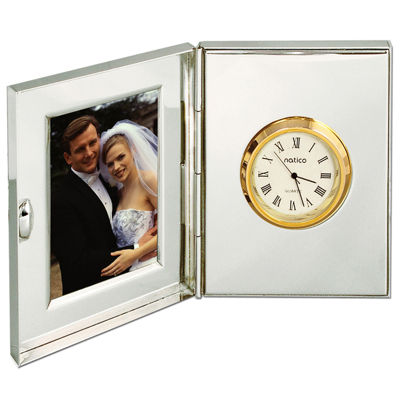 Natico Silver Desk Clock and Frame