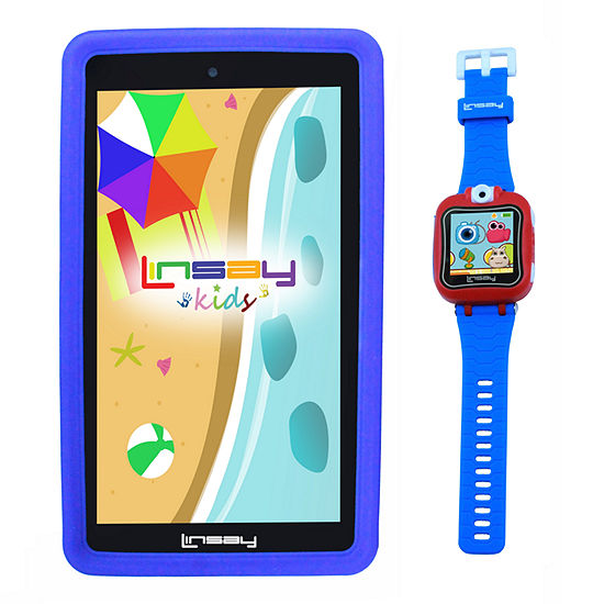 """LINSAY 7"""" Quad-Core 2GB RAM 16GB Android 9.0 Pie Tablet with Blue Kids Defender Case and Blue Kids Smart Watch"""