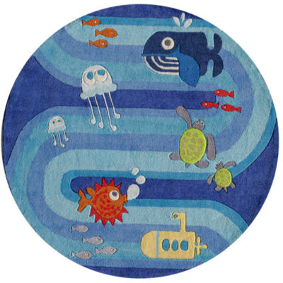 Momeni Lil Mo Ocean Life Hand Tufted Round Rug