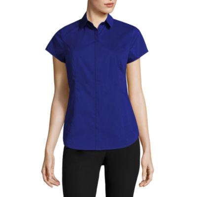 Worthington® Short-Sleeve Button-Front Oxford Shirt - Petite