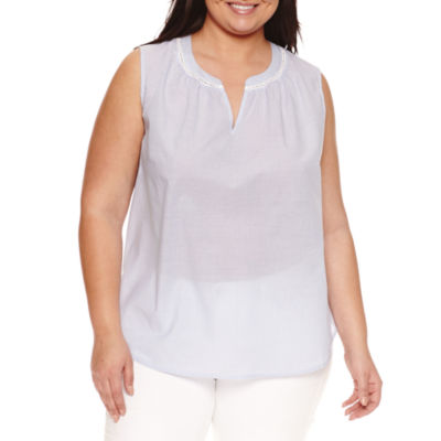 Liz Claiborne Sleeveless Peasant Top Plus