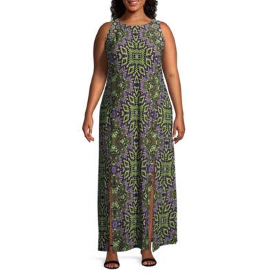London Times Sleeveless Diamond Maxi Dress - Plus