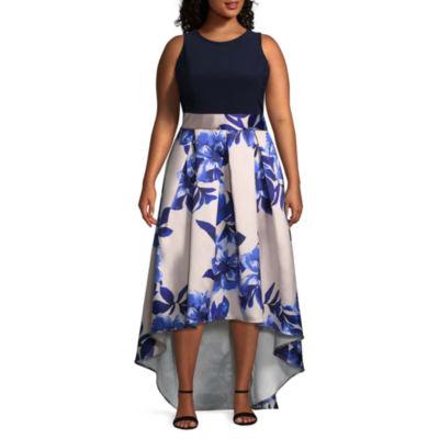 Blu Sage Sleeveless Floral Evening Gown - Plus