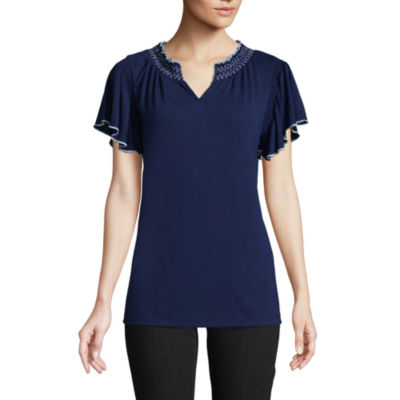 St. John's Bay Short Sleeve Smocked Blouse - Tall