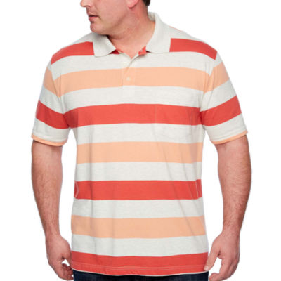 The Foundry Big & Tall Supply Co. Easy Care Quick Dry Short Sleeve Stripe Jersey Polo Shirt Big and Tall