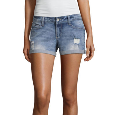 "Arizona 2 1/2""  Destructed Denim Shorts-Juniors"