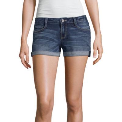 "Arizona 2 1/2"" Rollcuff Denim Shorts-Juniors"