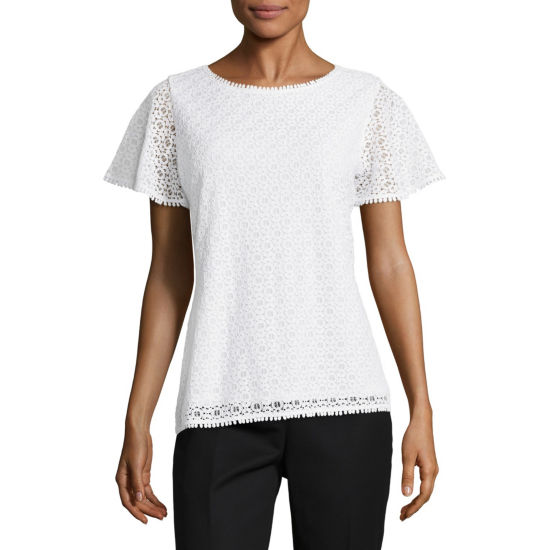 Liz Claiborne Short Sleeve Lace Knit Blouse