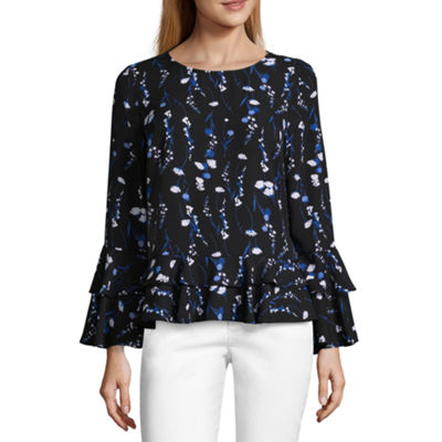 Worthington Long Sleeve Crew Neck Georgette Blouse
