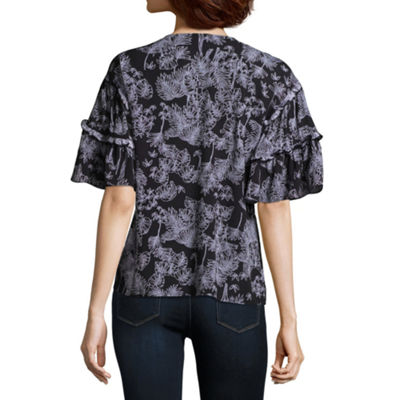 a.n.a Short Sleeve V Neck Woven Ruffled Blouse
