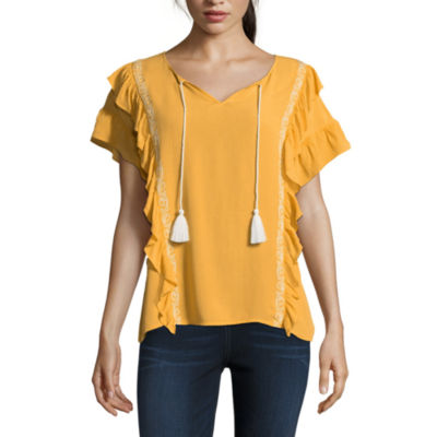 a.n.a Short Sleeve Y Neck Woven Blouse