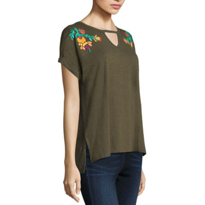 a.n.a. Short Sleeve Embroidered Keyhole  T-Shirt-Womens