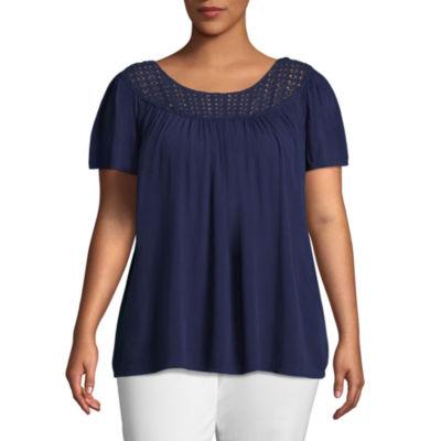 St. John's Bay® Crochet Flutter Sleeve Blouse - Plus