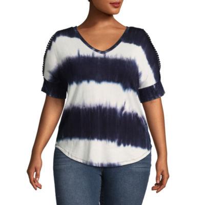 Boutique + Short Split Sleeve Tie Dye T-Shirt - Plus
