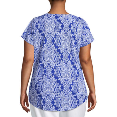 Liz Claiborne Flutter Sleeve Split Neck Tee- Plus