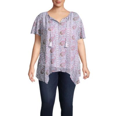 Liz Claiborne Flutter Sleeve Tunic- Plus