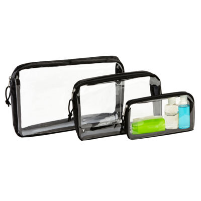Kennedy International 3 Piece Clear Travel Oranizer Bags