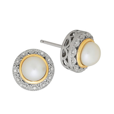 Diamond Accent White Cultured Freshwater Pearl 14K Gold Sterling Silver 12mm Stud Earrings