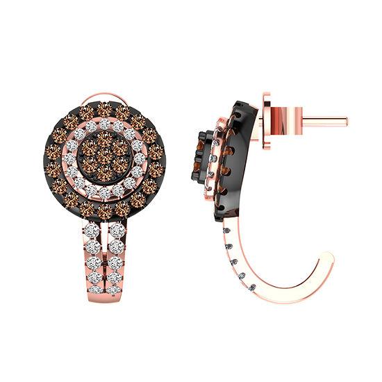 1 CT. T.W. Genuine Champagne Diamond 10K Gold 18.1mm Hoop Earrings