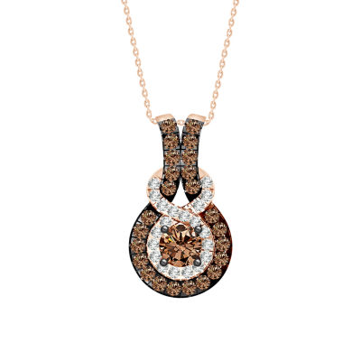 Womens 1/2 CT. T.W. Genuine Champagne Diamond 10K Gold Pendant Necklace