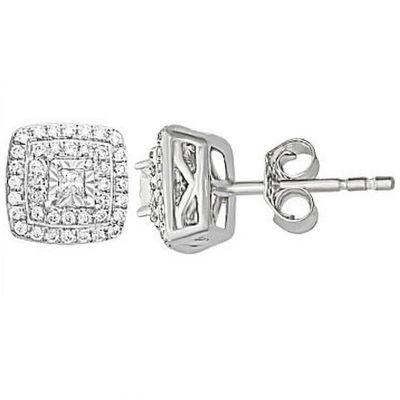 3/4 CT. T.W. Genuine White Diamond 10K Gold 9.1mm Stud Earrings